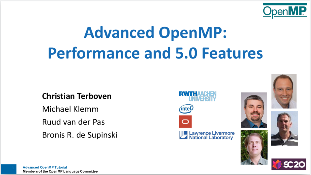 Title Slide: Advanced OpenMP tutorial at SC20